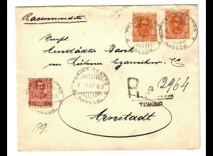 Einschreiben Torino Centro nach Arnstadt 1901