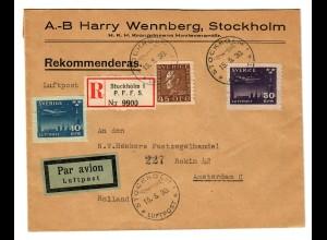 Einschreiben Luftpost Stockholm nach Amsterdam 1930