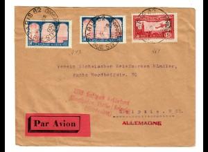 Luftpost Fllughafen Leipzig/Halle aus Paris nach Leipzig 1930, Vignette rücks.