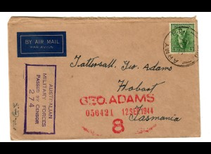 Luftpost Military Forces censor to Hobart 1944