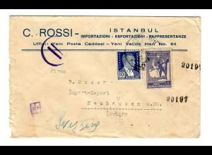 Briefaus Instanbul nach Neuhausen a. Rh. mit Italienischer Zensur