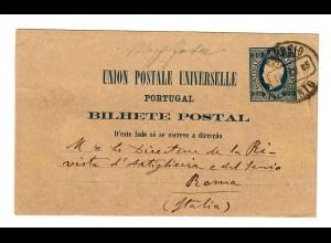 Ganzsache Porto 1885 nach Italien/Rom