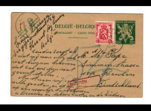 Ganzsache Herent mit Nachgebühr nach Deutschland 1946