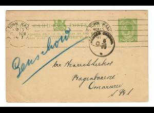 Ganzsache Cape Town 1917 mit Zensur