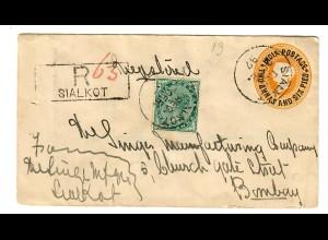 Einschreiben Brief Sialkot nach Bombay 1897