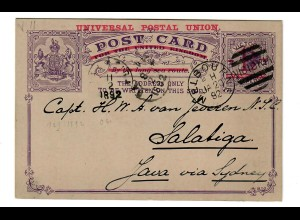 Post card Victoria/Melbourne 1897 to Salatiga/Java