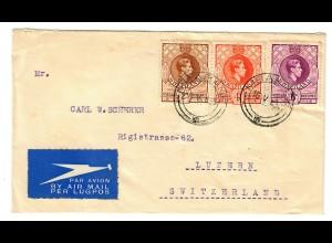 Luftpost Swaziland Mbaban 1939 in die Schweiz/Luzern