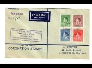Luftpost Einschreiben Rabaul nach Liverpool FDC 1937