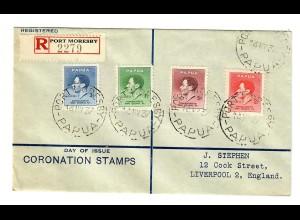 Luftpost Einschreiben Port Moresby nach Liverpool FDC 1937