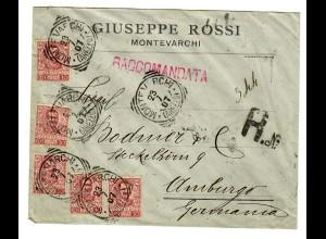 Einschreiben Montevarchi 1907 nach Hamburg 1907