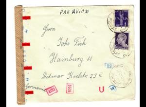 Luftpost Napoli nach Hamburg 1942, italienische und deutsche Zensur