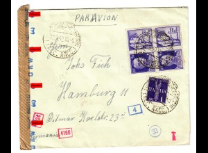 Luftpost Genua nach Hamburg 1942, italienische und deutsche Zensur