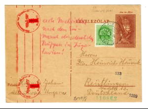 OKW Zensur Ganzsache Ungarn nach Reutlingen,