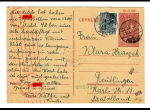 Ganzsache Ungarn Alt Sirai nach Reutlingen, OKW Zensur