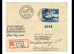 Einschreiben Stockholm FDC 1936 nach Kristianstad