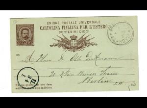 Ganzsache Mailand um 1900 nach Berlin, Hotelkarte