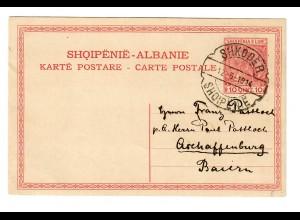 Ganzsache Shkoder nach Aschaffenburg 1914