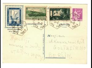 Postkarte Paris 1937 nach Berlin