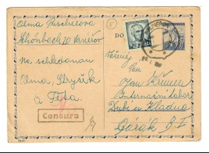 Prunerov, Postkarte ca. 1945 nach Dubi u Kladua, Zensur
