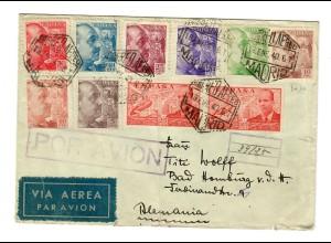 Luftpost Madrid nach Bad Homburg 1940 mit 2x Zensur