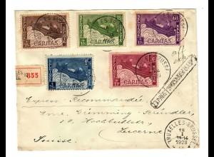 Einschreiben Brüssel nach Luzern 1928, Telegraph