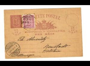 Ganzsache 1895 Lisboa nach Neustadt/Holstein