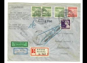 Einschreiben Stockholm, Luftpost nach Montevideo 1946, zurück