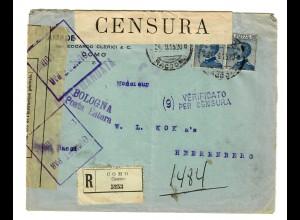 Einschreiben Como/Bologna nach Herrenberg, 2x Zensur 1915