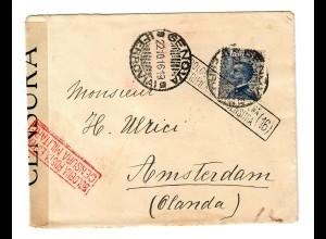 Brief Genova 1916 nach Amsterdam, Zensur