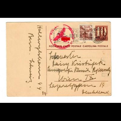 Ganzsache Bern 1941 nach Wien mit Zensur
