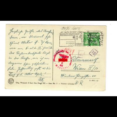 Postkarte Amsterdam 1942 nach Wien, Zensur