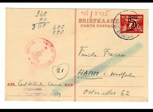 Ganzsache Rotterdam nach Hamm/Westfalen, 1944, Zensur