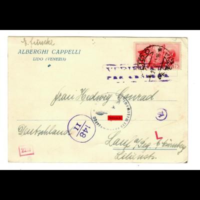 Postkarte Lido Venezia nach Lauf, Zensur 1941