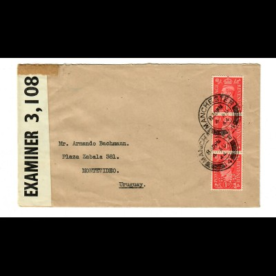 Manchester 1944 to Montevideo, censor