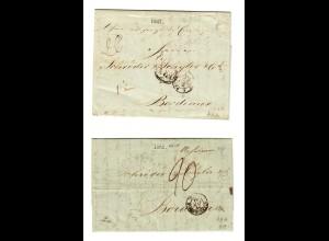 Rus: 2x 1841 und 1851: St. Petersburg nach Bordeaux