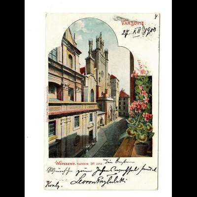 Polen: Ansichtskarte Warschau 1900 nach Basel