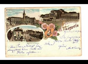 PL: Litho-Ansichtskarte Warschau 1900 nach Leipzig