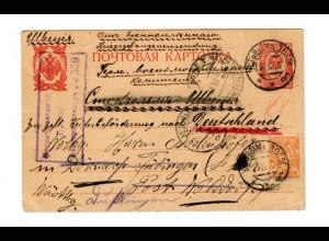 Rus: 1915: Kgf/POW Post am Jarewsk nach Tübingen - Weiterleitung