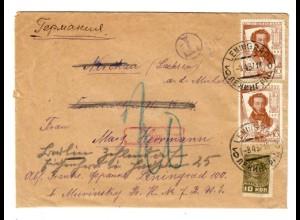 Rus: 1937: Leningrad Brief mit Nachporto
