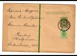 Rus: 1908: Streifband Ganzsache nach Graudenz