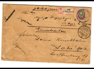 Rus: 1910: Einschreiben St. Petersburg nach Lahr/Baden