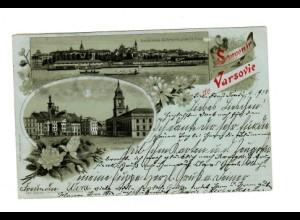 PL: 1900: Ansichtskarte Warschau, Litho, nach Lichtenfelde