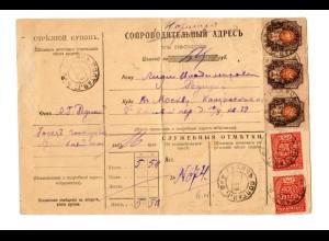 Rus: 1919 Paketkarte gefaltet