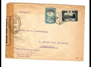 Rus: 1939 Moskau nach Brüssel/Belgien mit Zensur