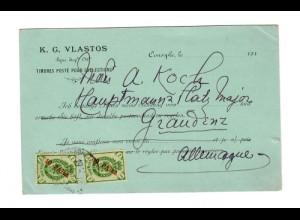 Rus: Levante 1900: Postkarte Vlastos nach Graudenz