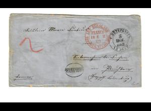 Rus: 1868 St. Petersburg mit Portoprüfung