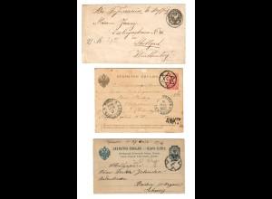 Rus: 1886/94: 1 Brief, 1 Kartenbrief, 1 Postkarte, St. Petersburg nach D/SF