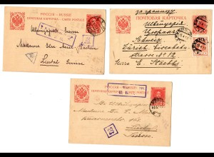 Rus: 5x Postkarte 1913/17 in die Schweiz