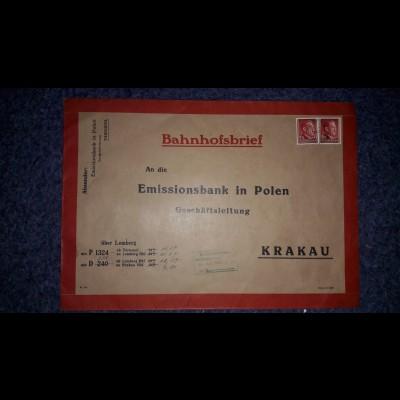 Portogerechter sehr seltener großformatiger Bahnhofsbrief; Zug Tarnopol-Krakau