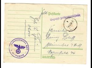 Feldpostkarte Wachbataillon 647, FPNr. 06010, Feldpostprüfstelle geprüft nach Münster 1940
